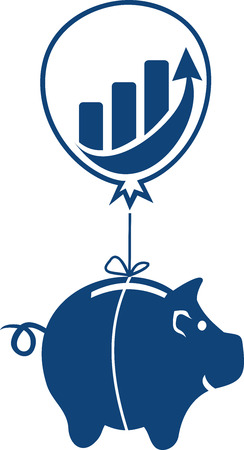 A piggy bank hanging on a balloon. Ascending,  progressing financial status.