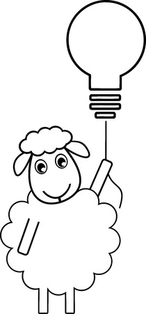 A sheep flew by a light bulb, symbol of idea, solution, creativity