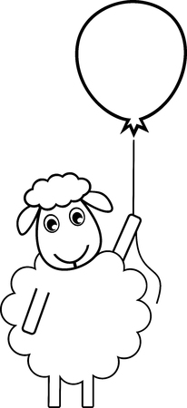 A sheep flew by a balloon, symbol of idea, solution, creativity