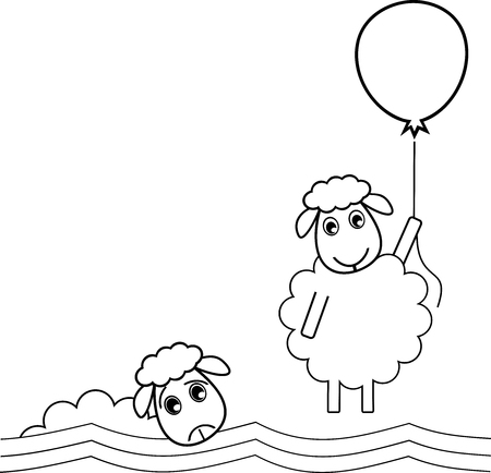 A sheep flies off with a balloon to get out of a bad situation Illustration