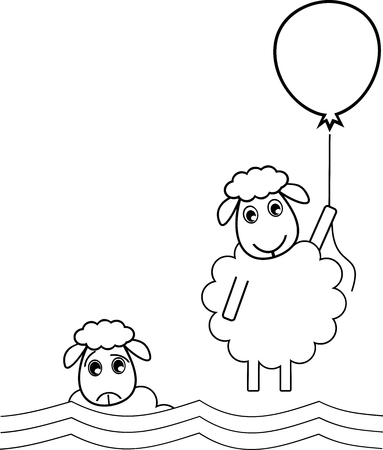 A sheep flies off with a balloon to get out of a bad situation 일러스트