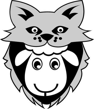 Un mouton se déguise en loup pour apparaître plus fort et tromper l'adversaire ou l'ennemi Banque d'images - 95078952