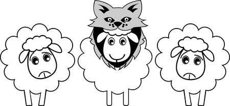 Un mouton se déguise en loup pour apparaître plus fort et tromper l'adversaire ou l'ennemi Banque d'images - 95078953
