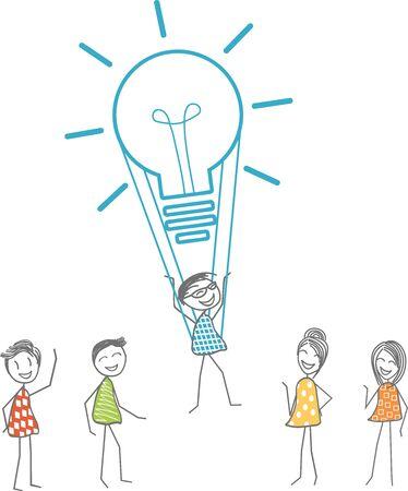 Un homme décolle avec une ampoule symbolisant une idée fabuleuse. Banque d'images - 95367160