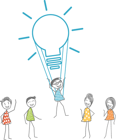 A man takes off with a light bulb symbolizing a fabulous idea. Illustration