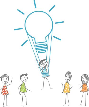 Un homme décolle avec une ampoule symbolisant une idée fabuleuse. Banque d'images - 95367161