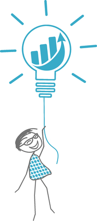 A man takes off with a light bulb symbolizing a fabulous idea. 일러스트