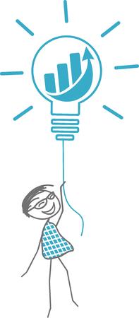Un homme décolle avec une ampoule symbolisant une idée fabuleuse. Banque d'images - 95367164