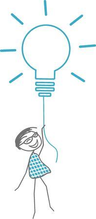 A man takes off with a light bulb symbolizing a fabulous idea. Illusztráció