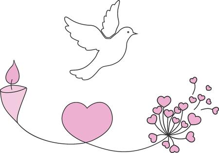 Illustration vectorielle d'amour et de paix avec oiseau, fleur et bougie. Vecteurs