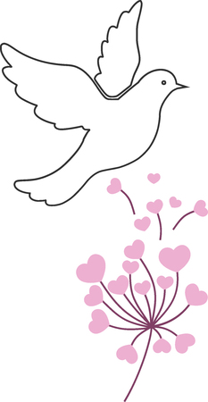 Illustration of love and peace, dove and flowers.