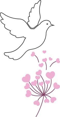 Illustratie van liefde en vrede, duif en bloemen.