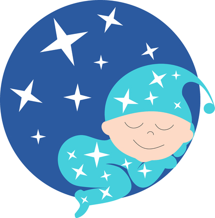 A baby sleeps in front of a starry sky Archivio Fotografico - 99248182
