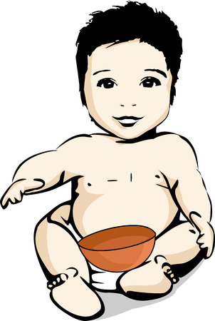 A smiling baby in a diaper with a bowl for his meal