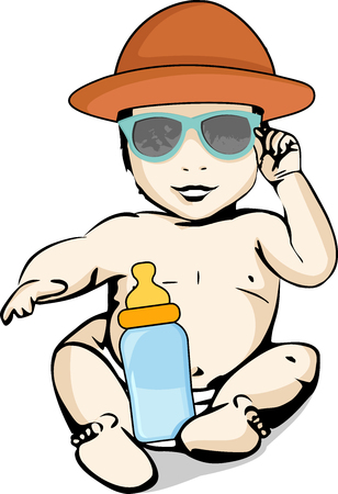 A baby in a diaper is sitting with a hat on his head, sunglasses and a bottle