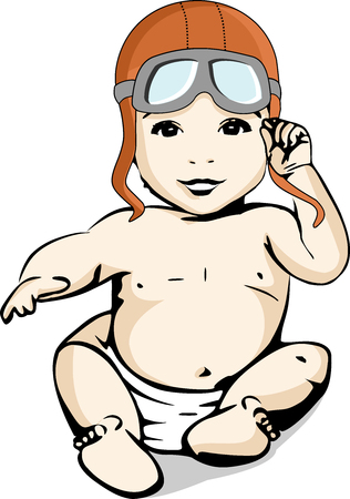 A baby in a diaper with a helmet and aviator's glasses plays to be an adventurous traveler and explorer