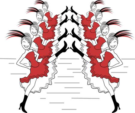 Typische Kabarett-Tänzer von Montmartre bis Paris Vektorgrafik