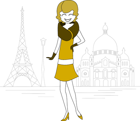 A woman in the Eiffel Tower and the Basilica of Montmartre Illustration