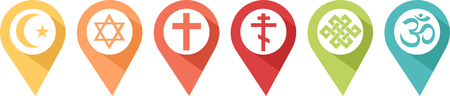 Pictogram of different religions in pines to know where to find them