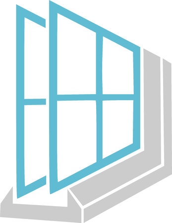 Blue and gray double glazing icon