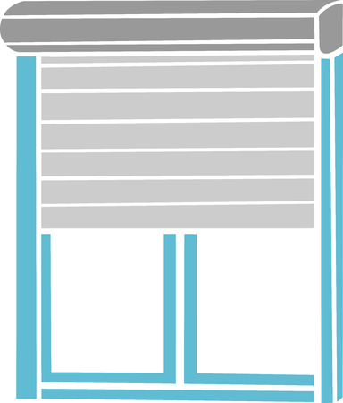 Pictogram or icon for gray and blue roller shutters