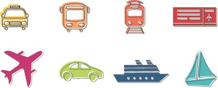 Pictograms or icons of transport vehicles Ilustração