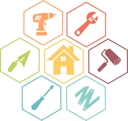 Icon to illustrate DIY and work in a house or building