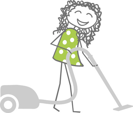 A woman cleans while vacuuming