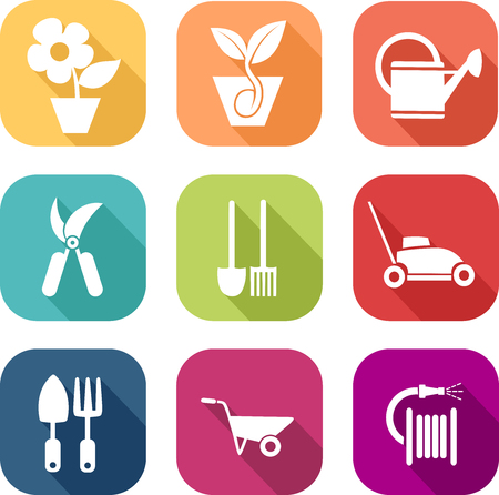 Colorful gardening icons Stock Illustratie
