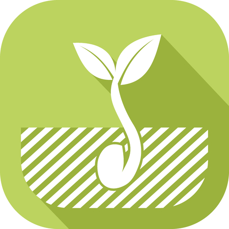 Icon of a seed that germinates in the ground Çizim