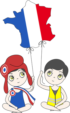 Marianne and a yellow vest lead France in the form of a balloon by pulling ropes Ilustração