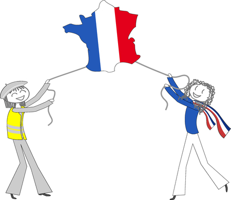 A representative of the French government and a yellow vest lead France, represented by an airship balloon, by pulling strings