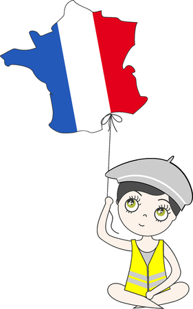 A person in a yellow vest holds the map of France in his hand as he flies away