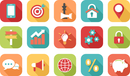 Colorful marketing strategy icons Illustration
