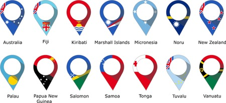 Flags in the form of a pin of the countries of Oceania with their names written below