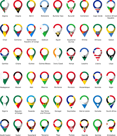 Flags in the form of a pin of African countries with their names written below Illustration