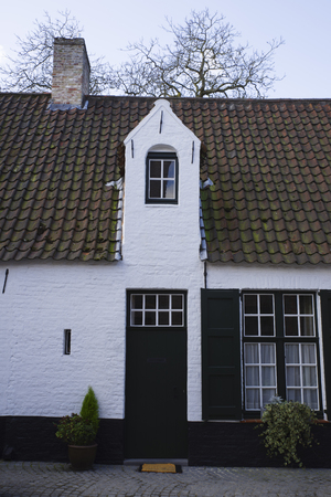 Detail of a typical old house in Bruges, Belgium, in the historical center Banco de Imagens