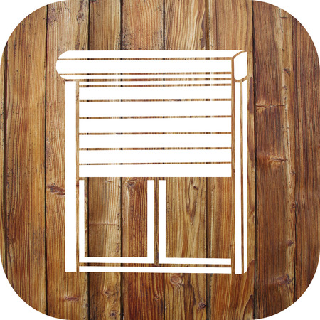 Roller shutter icon on a wooden background