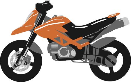 Orange, gray and black motorcycle Illustration