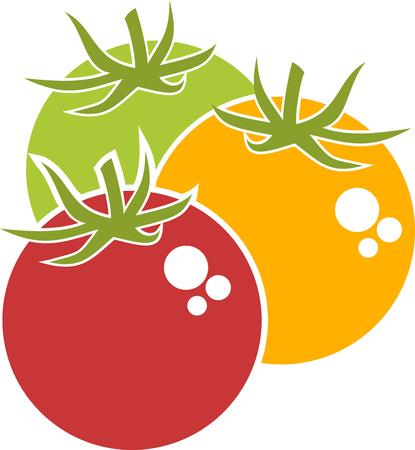 Three red, yellow and green tomatoes Ilustração