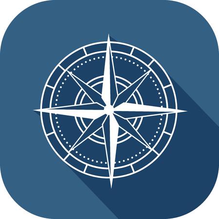 White compass on blue icon in flat design style Ilustração