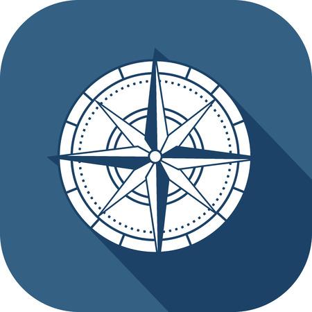 Colored compass icon in fla design style