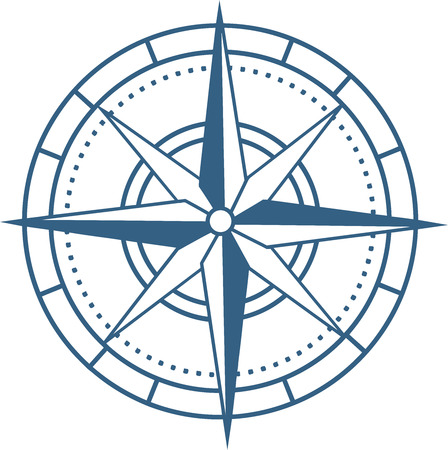 Colored compass icon in flat design style
