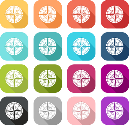 Set of colored compass icons