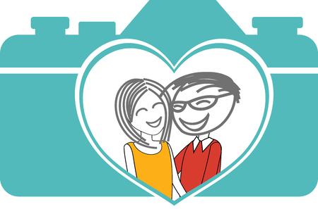 Portrait of a couple with a heart-shaped lens Ilustração