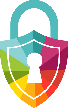 Colored padlock icon to illustrate Internet safety for children or adults