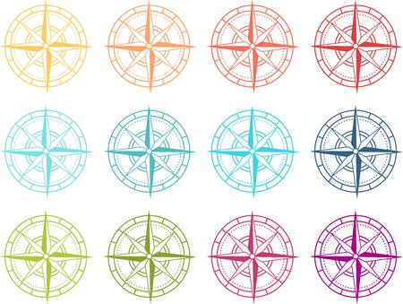 Colored compass icon Ilustração