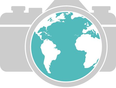 A globe in the lens of a camera Ilustração