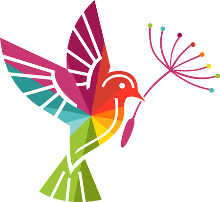 Colored bird in flight with a flower in its beak