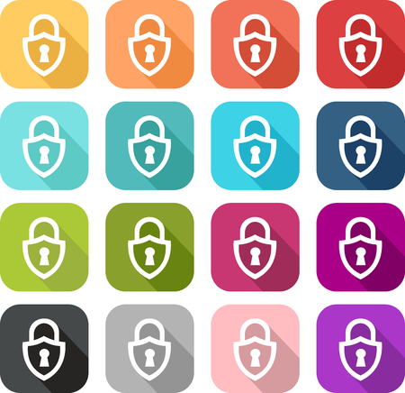 Set of colored padlock icon in the shape of a shield Vectores